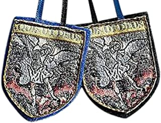 Gifts by Lulee, LLC St Michael The Archangel Blue Cloth Shield Scapular and Prayer Exorcism Against Satan and The Rebellious Angels (English)