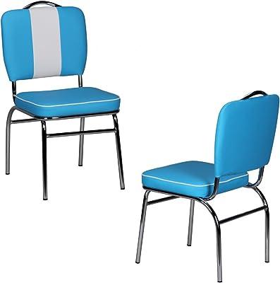 KadimaDesign Dining chair American Diner 50s Retro Blue White