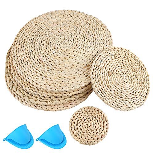 Glightor Woven Placemats Round Set of 6, Natural Water Hyacinth Handmade Weave Placemat Heat Resistant Non-Slip for Dining Table, Additional...