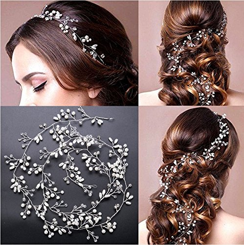 TQsuen Bridal Hair Vines Crystals Wedding Headpieces, 20 Inches Handmade Crystal Pearl Wedding Evening Party Headpiece Head Band Bride Wedding Hair Accessories for Bridesmaid and Flowergirls, Silver