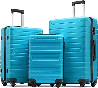 Flieks Luggage Sets 3 Piece Spinner Suitcase Lightweight 20 24 28 inch (Sky.blue)