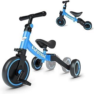 besrey 5-i-1 hjulhjul balanscykel barntrehjuling trehjuling löpcykel löpningshjälp för barn från 1 år till 4 år – blå