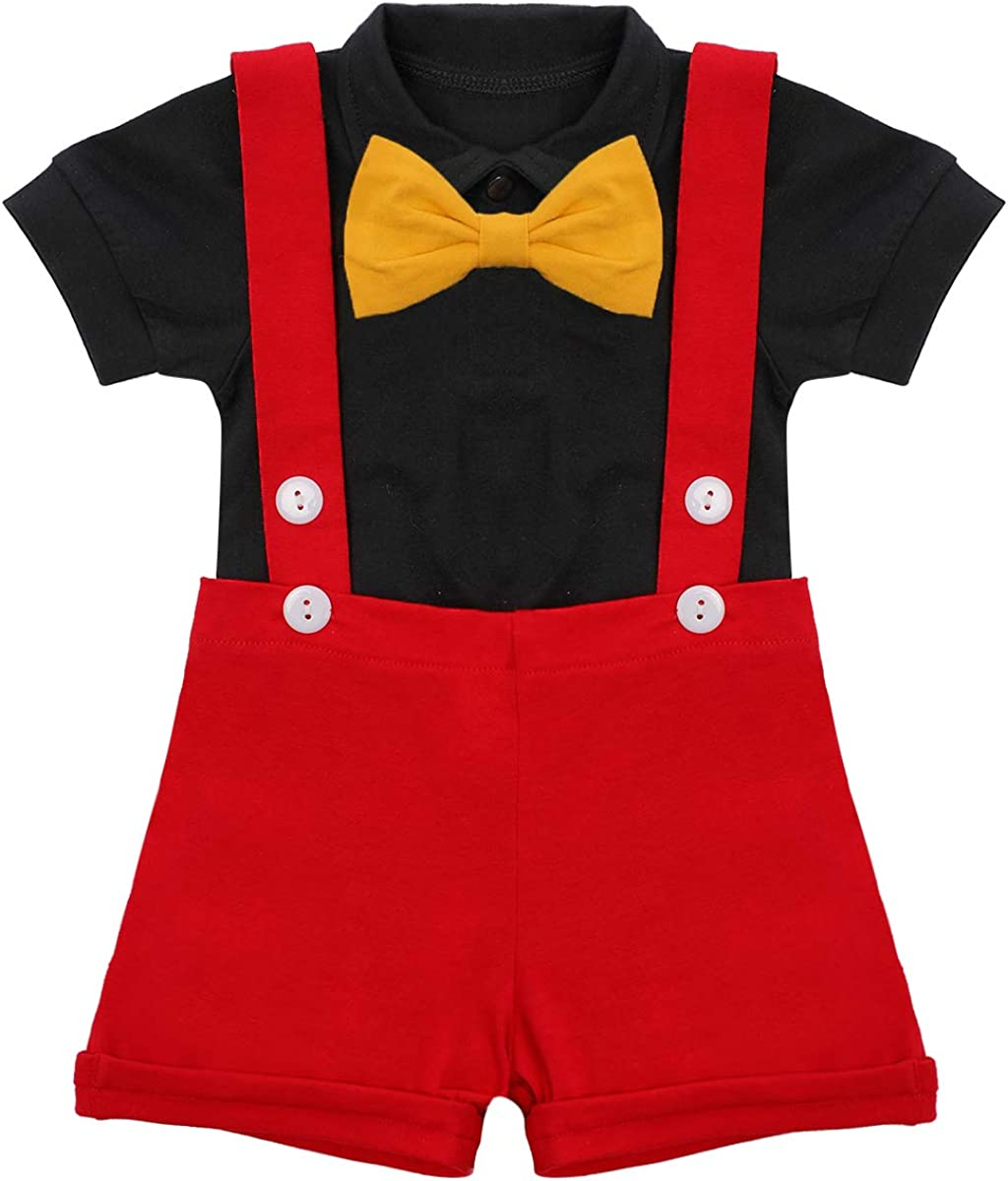 Baby Boys Mouse Costume Cosplay Bowtie Overseas parallel import regular item Max 89% OFF Suspenders Shorts Romper