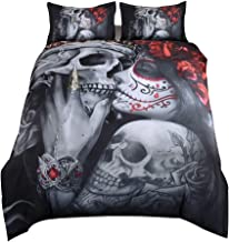 Suncloris, Bedding Duvet Cover Sets, 3D Dead Sugar Skull Girl Kissing Skull Home Bedding Set.Included: Duvet Cover,Pillowc...