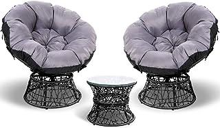 Gardeon 3pc Outdoor Furniture Rattan Wicker Set Papasan Chair and Table for Garden Patio-Black
