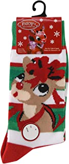 the Red Nosed Reindeer Striped Green and White Christmas Crew Socks for Sizes 4-10