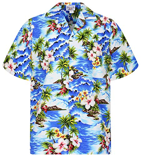 P.L.A. Pacific Legend Original Hawaiihemd, Kurzarm, Welle, Blau, 3XL