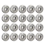 uxcell 604ZZ Deep Groove Ball Bearing Double Shield 604-2Z 80014, 4mm x 12mm x 4mm High Carbon Steel Z1 Bearings (Pack of 20)