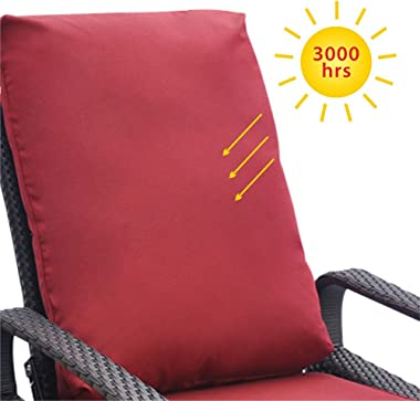 Outdoor Recliner, Outdoor Resin Wicker Patio Recliner Chair with Cushions, Patio Furniture Auto Adjustable Rattan Sofa, UV/Fa