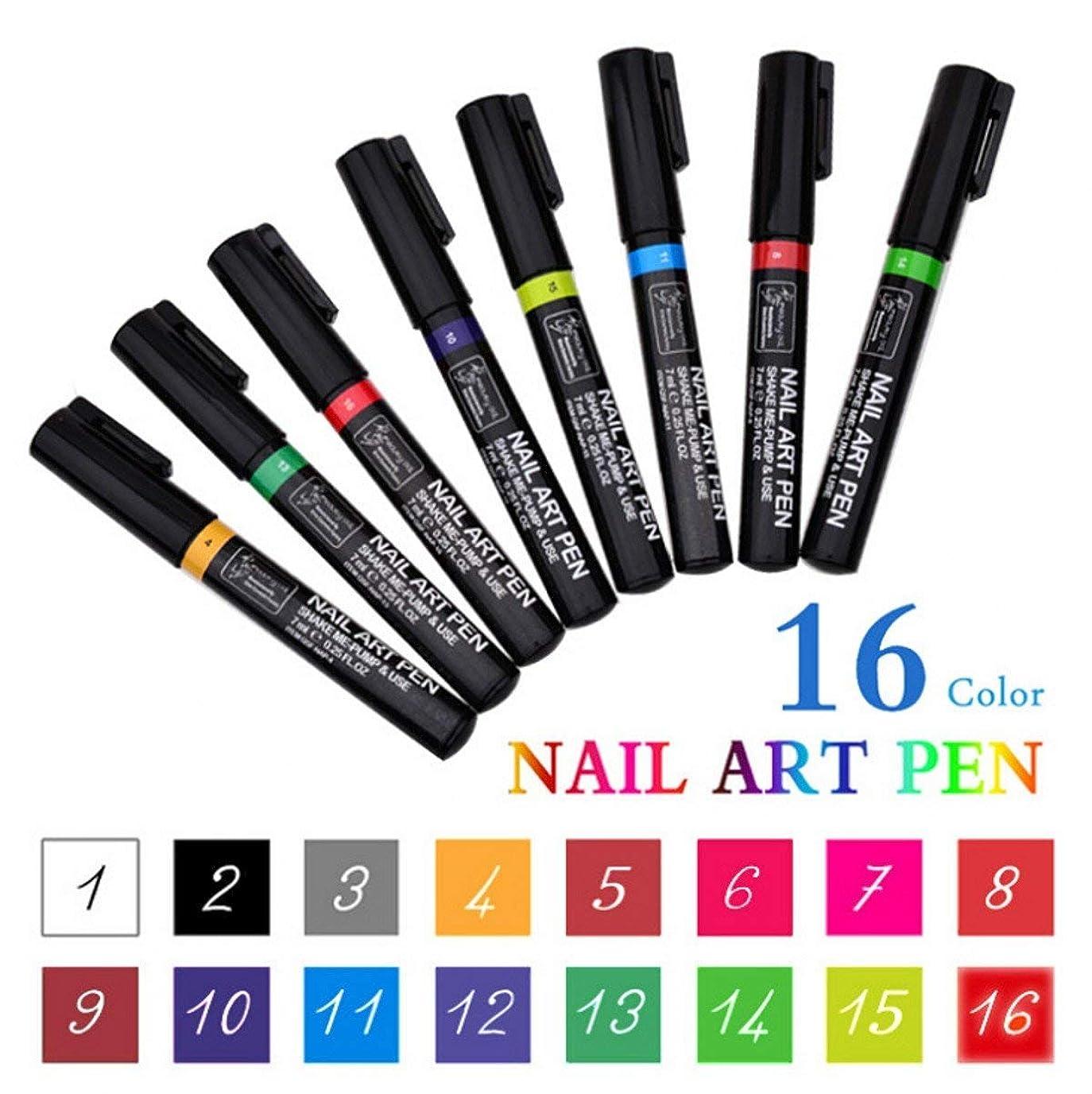 美徳発明レオナルドダWellieSTR 16色セットネイルアートペン絵画デザインツールデッサンのためのuvジェルポリッシュマニキュア - あなた自身のカスタムネイルアートを作成する