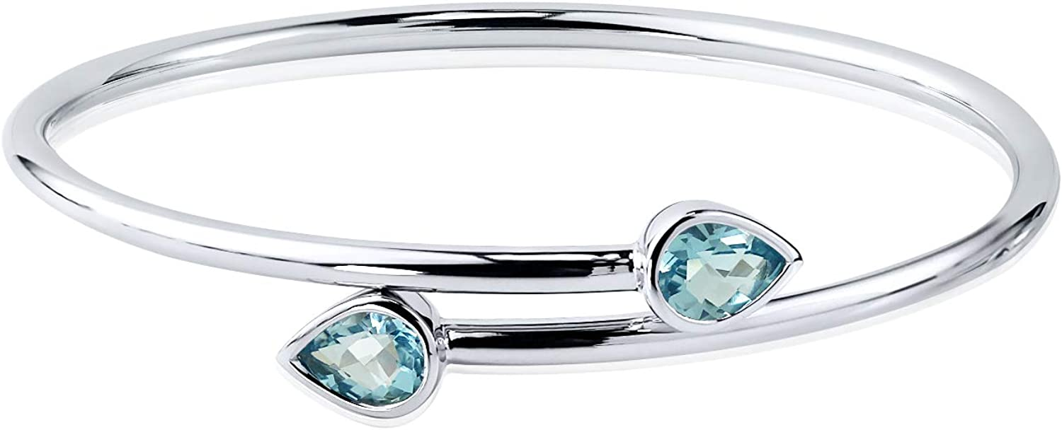 Sterling Silver Pear-Cut Sky-Blue Stackable Topaz Bypass Bangle service Austin Mall