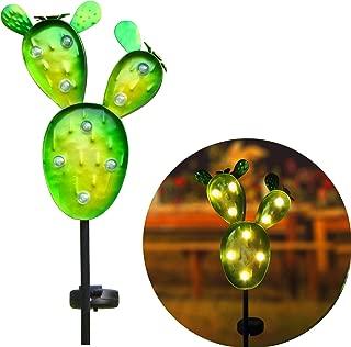 Kaixoxin Garden Solar Lights Outdoor Metal Cactus Decorative Stake, 9 Warm White Waterproof LED Solar Pathway Lights, 32.75 Inch Tall (Green)