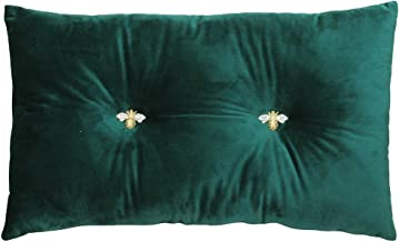 Bumble Rectangular Bee Scatter Cushion - Emerald Green - Faux Velvet Look and Feel - Jewelled Metal Bee Buttons - Polyfill...