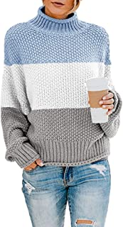 Tutorutor Womens Color Block Pullover Sweaters Oversized Turtleneck Striped Batwing Long Sleeve Loose Chunky Knit Jumper