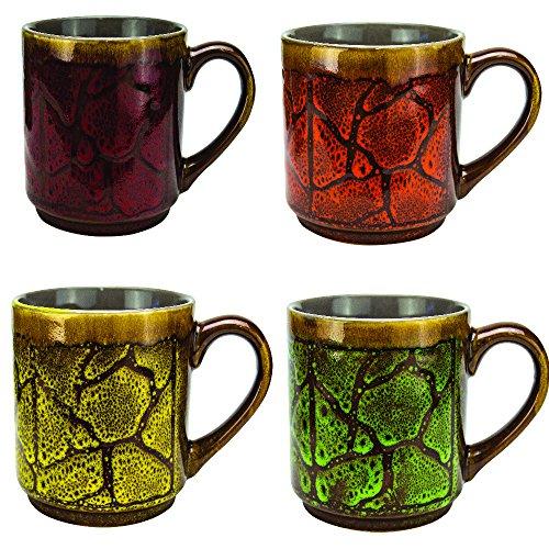 Mug Coffee Mugs Tea Cup Set - 4 Piece Set Ceramic Stoneware Cups 16 Ounce Unique Glazed Coffee Mugs Best Coffee Mug