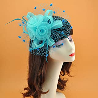 ideal Wedding,Ladies day Elegant navy Blue chiffon Flower /& feather fascinator On comb Special occasion Ascot Derby