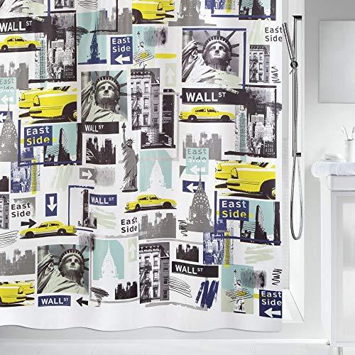Spirella Textil Big Apple Multicolor 180x200 cm Duschvorhang, Stoff, 180 x 200 cm