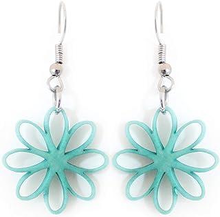 Flower Tagua Earrings Turquoise Handmade Fair Trade
