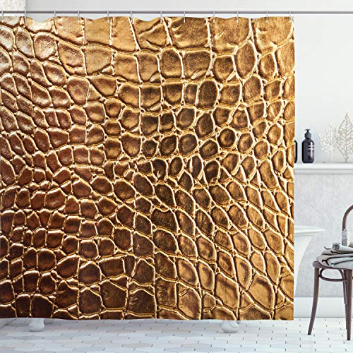 Ambesonne Animal Print Shower Curtain, Tint Vivid Crocodile Skin Nature Life Toughness High-End Design Artwork, Cloth Fabric Bathroom Decor Set with Hooks, 84' Long Extra, Pale Brown