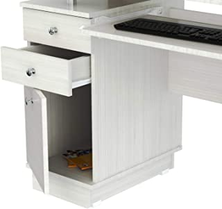 Inval America Computer Work Center With With Hutch, Laricina White