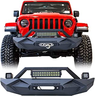 BESKE Jeep Wrangler front bumper blade front bar with winch plate and LED lights for Jeep Wrangler JL