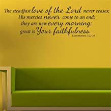 Lisair Wall Art Decal Sticker Words Wall Saying Words Removable Mural The Steadfast Love of The Lord Never ceases Bible Verse Christian