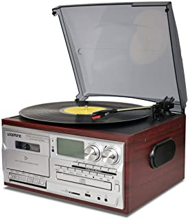 LoopTone Vinyl Record Player 9 in 1 3 Speed Bluetooth Vintage Turntable CD Cassette Player AM/FM Radio USB Recorder Aux-in...