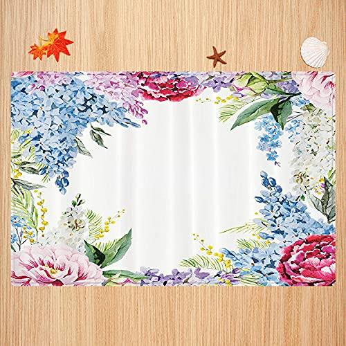 Alfombra de baño Antideslizante,Flor, Guirnalda de Fragancia primaveral con Ramo de Flores Lila Lavanda Rosa Peonía Estampado Art Apto para Cocina, salón, Ducha (50x80 cm)