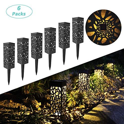 Lampes Solaires Extérieures de Jardin au Sol, Lot de 6 LED...