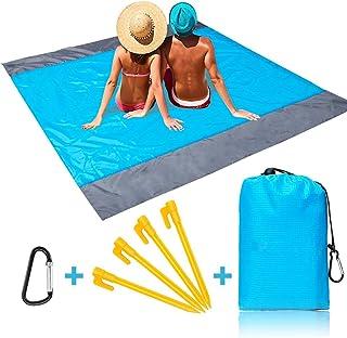 Momoco Alfombras de Playa 210 x 200 cm Manta de Picnic Impermeable con 4 Estaca Fijo, Portátil y Ligero Alfombras de Picnic para la Playa Acampar Picnic y Otra Actividad al Aire Libre
