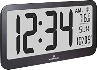 Marathon Slim Jumbo Panoramic Atomic Wall Clock with Date and Indoor Temperature. Commercial Grade with Big 6-Inch Numbers, Alarm and Stand - Batteries Included - CL030033JUMBO-BK (Black)