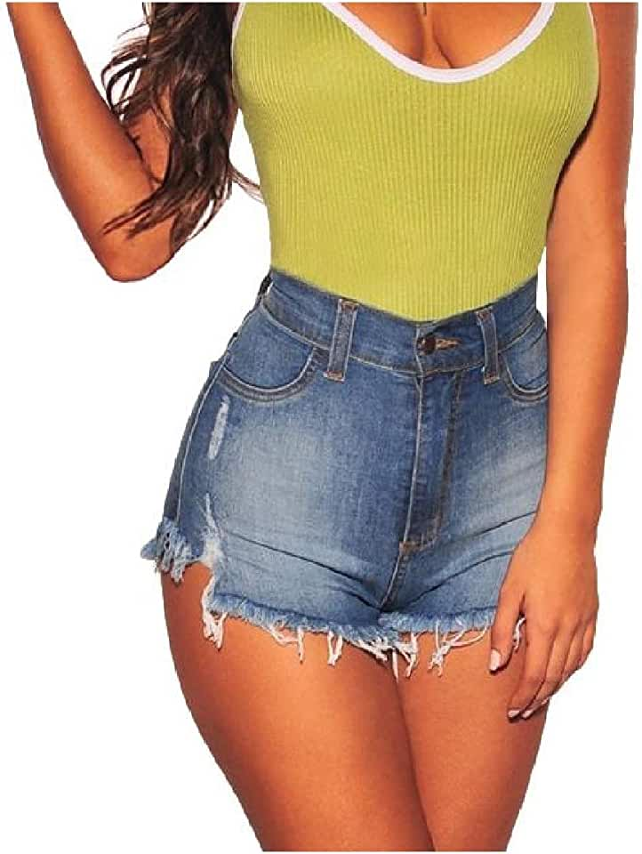 RingBong Womens Skinny Ripped-Holes Frayed Raw Hem Hot Shorts Sexy Jean Shorts