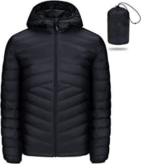 CAMEL CROWN Men's Packable Down Jacket Hooded Lightweight Puffer Insulated Coat for Travel Outdoor Hiking