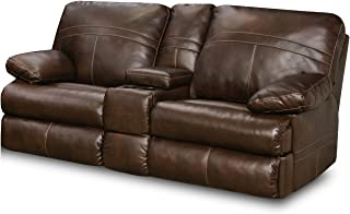 Simmons Upholstery Bonded Leather Double Motion Console Loveseat