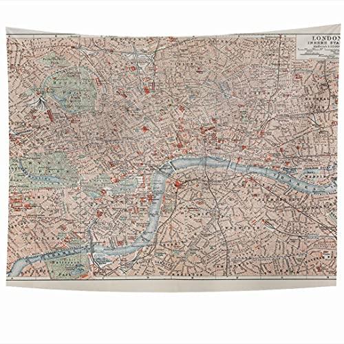 Tapices para colgar en la pared Mapa retro de la ciudad vieja del siglo XIX Londres Vintage Calles unidas Texturas del reino único Tapiz abstracto Manta de pared Decoración del hogar Sala de estar Dor
