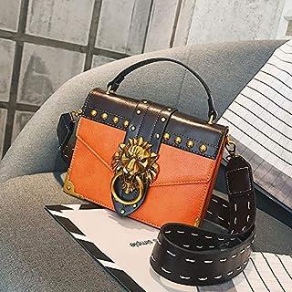 Adebie - Luxury Famous Brand Shoulder Bags Female Lion Head Lock Handbag Women PU Leather Messenger Crossbody Bags Fashion Party Clutch Orange