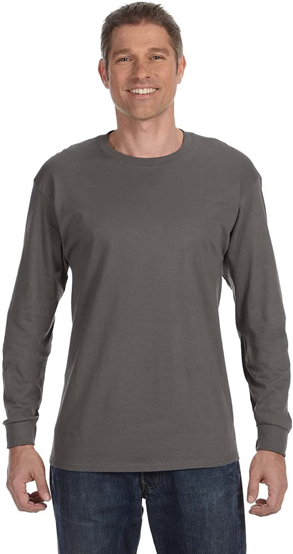 Hanes, 5586, Men's, Tagless Long Sleeve Tee, Smoke Grey (Pack of 5)
