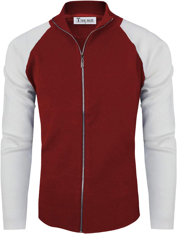 TAM WARE Mens Stylish Colorblocked Full Zip Cardigan