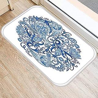 OPLJ Blått och vitt porslin kök entrédörrmatta matta färgglad innermatta huvudmatta dekorativ dörrmatta A8 50 x 80 cm