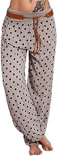 ouxiuli Women's Pants Plus Size Harem Pants Polka Dot Harlan Pants Elastic Waist Pants