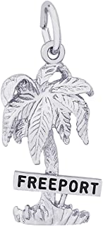 Rembrandt Charms Sterling Silver Freeport Palm Tree Charm on a 16, 18 or 20 inch Rope, Box or Curb Chain Necklace