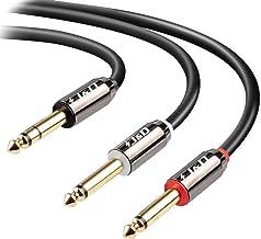 J&D 6.35mm Mono Cable de Audio, Chapado en Oro 2 x 6,35mm (1/4 Pulgada) TS Mono Insertar Cable de Audio con Carcasa de aleación de Zinc y Trenza de Nylon para iPhone, iPad, iPod, Ordenador portátil