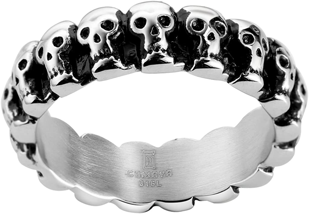 6mm Stainless Steel Gothic Skull Biker Ring