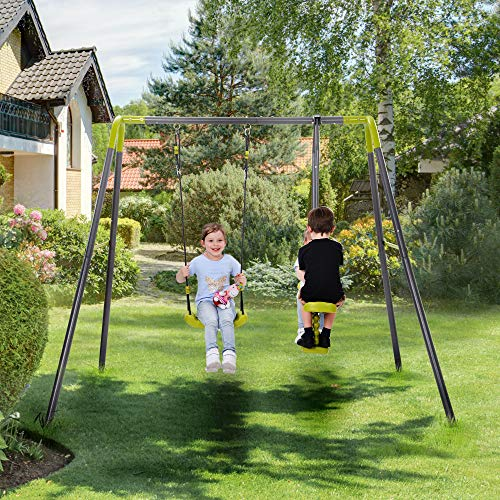 Metal Swing Set Outdoor 3-12 Year Old Kids Fun Play Heavy Duty A-Frame, Height Adjustment Swing Set Perfect for Patio, Garden, Porch, Backyard, House Physical Activity and Exercise (2 in 1)