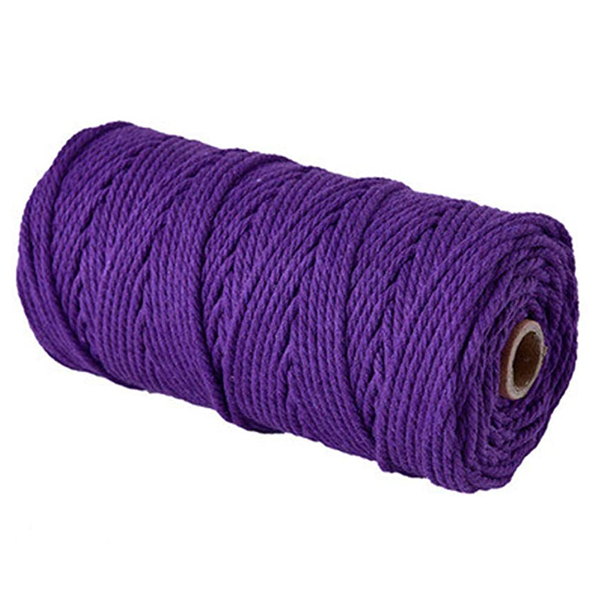 Natural Macrame Cord,Purple 3mm Cotton Macrame Wall Hanging Plant Hanger Craft Making Knitting Cord Rope (Purple, 3mm)