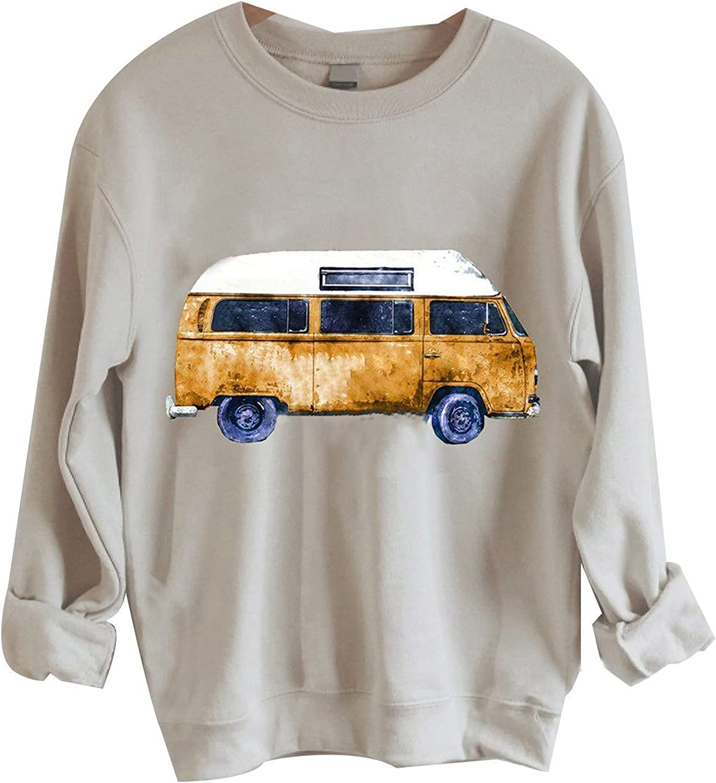 Women Crewneck Sweatshirts, Long Batwing Sleeve Plus Size Fleece Pullover Shirts Elegant Vintage Graphic Casual Blouse