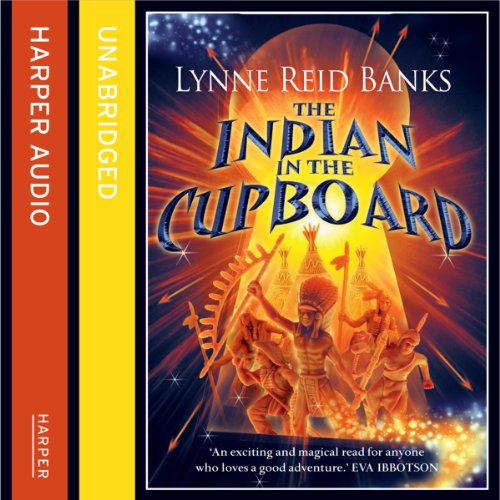 The Indian in the Cupboard cover art, toys are visible through a keyhole that shines with bright yellow light.