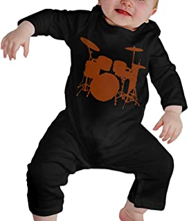 Toddler Baby Girls Drum Set Silhouette Long Sleeve Romper Jumpsuit, Printed Cotton Bodysuits Coverall Jumpsuit