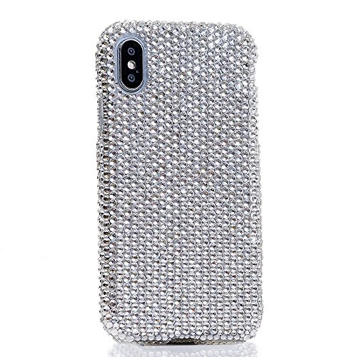 iPhone XS/X Case, [Premium Handmade Quality] Bling Genuine Clear Crystals Protective Case Easy Grip Cover [by Luxaddiction]
