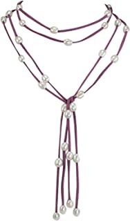 Dahlia Double Strand Floating Cultured Pearls Suede Lariat Necklace (8-10mm), 48